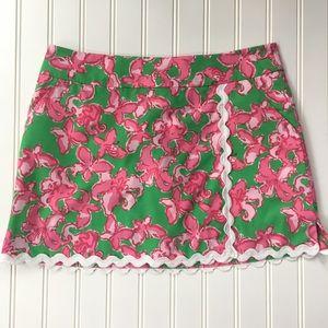 Lilly Pulitzer pink/ green skort, SIZE 0